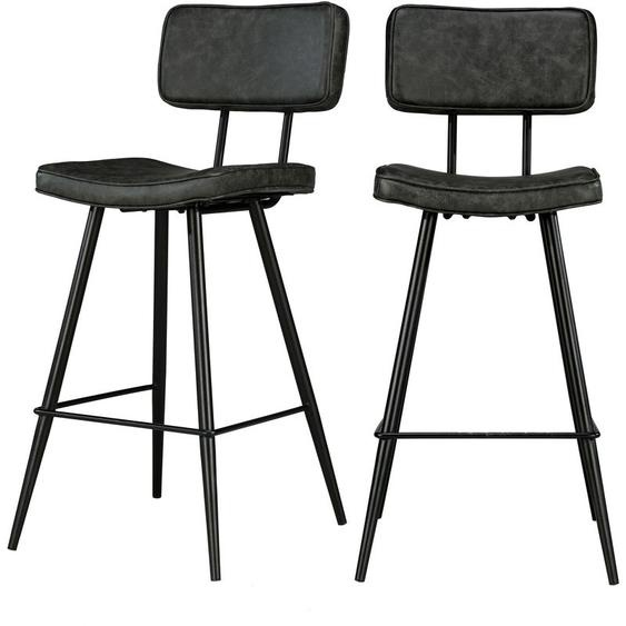 Chaise de bar mi-hauteur Texas grise/noire 65 cm (lot de 2) - Noir - RENDEZ VOUS DéCO