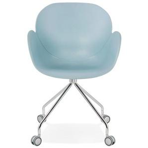Chaise de bureau design JEFF bleue sur roulettes