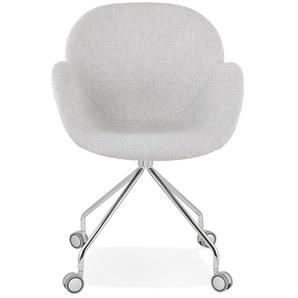 Chaise de bureau KEV en tissu gris clair confortable sur roulettes