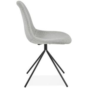 Chaise design TAMARA en tissu gris avec pied en métal noir