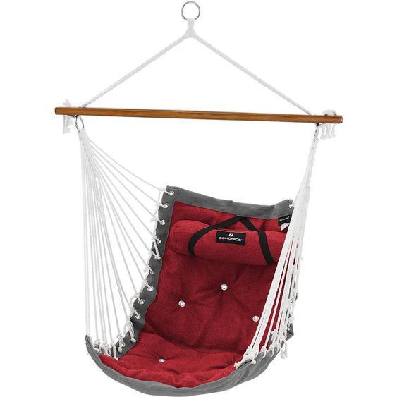 Chaise hamac, Fauteuil Suspendu balançoire XL, avec Barre en Bambou, 70 x 120 cm, Charge maximale 200 kg, intérieur et extérieur, Rouge et Gris GDC46GR - SONGMICS