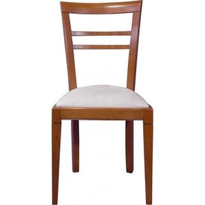 Chaise merisier dossier barres assise tissu