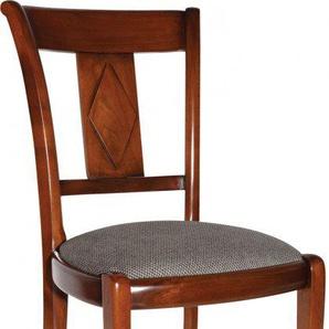 Chaise merisier massif assise tissu gris