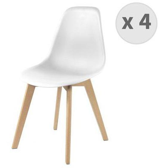 Chaise scandinave blanc pied hêtre (x4)