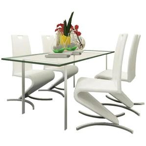 Chaise de salle à manger 4pcs Cantilever Cuir synthétique Blanc