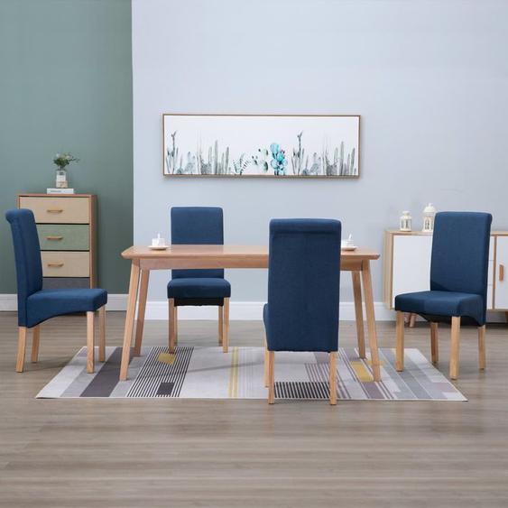 Chaises de salle à manger 4 pcs Bleu Tissu - YOUTHUP