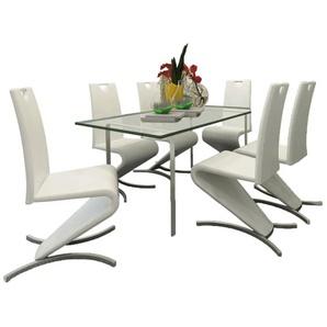 Chaise de salle à manger 6pcs Cantilever Cuir synthétique Blanc