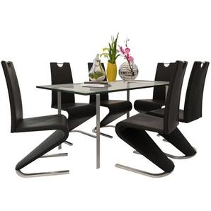 Chaises de salle à manger 6 pcs Noir Similicuir