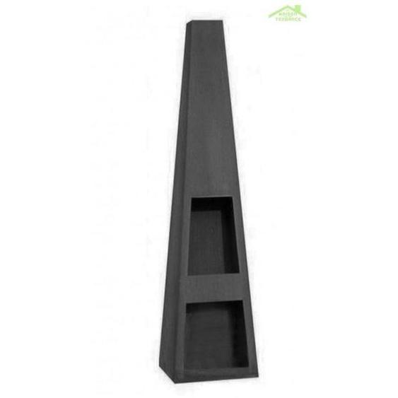 Cheminée de jardin en acier TEXAS 118x40x40 cm avec rangement bois - Noir - Noir - FARM COOK