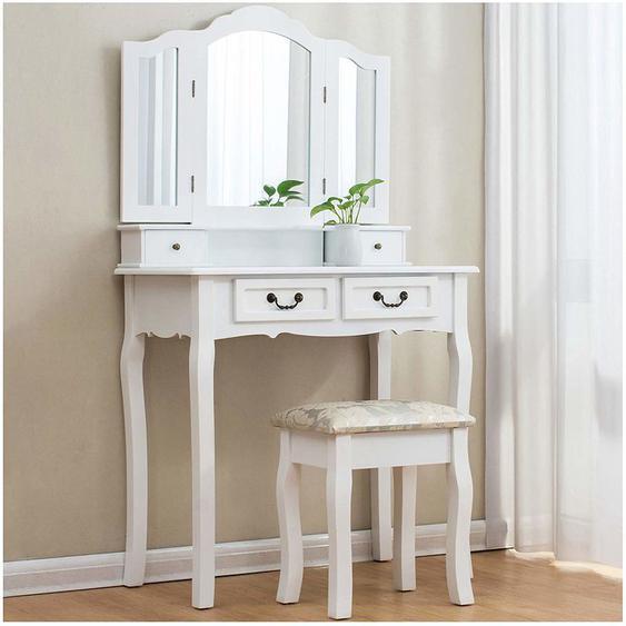 Meriden Furniture - Cherry Tree Furniture Coiffeuse avec 3 miroirs directionnels, 4 tiroirs et tabouret rembourré en Jacquard.