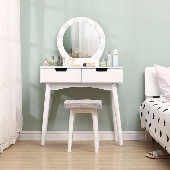 Coiffeuse avec Lumière LED Miroir Ovale Table de Maquillage Contemporain avec Tabouret 131*80*40cm Blanc - OOBEST