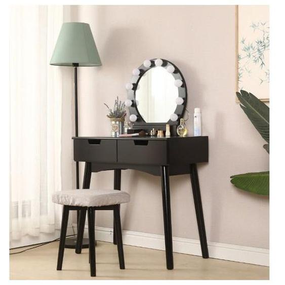 Oobest - Coiffeuse avec Lumière LED Miroir Ovale Table de Maquillage Contemporain avec Tabouret 131*80*40cm Noir