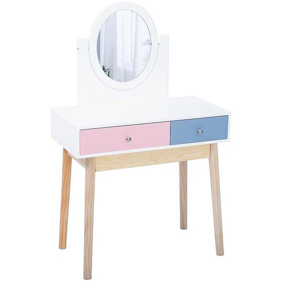 coiffeuse avec miroir avec 2 tiroir 80*40*130cm rose-bleu - JEOBEST