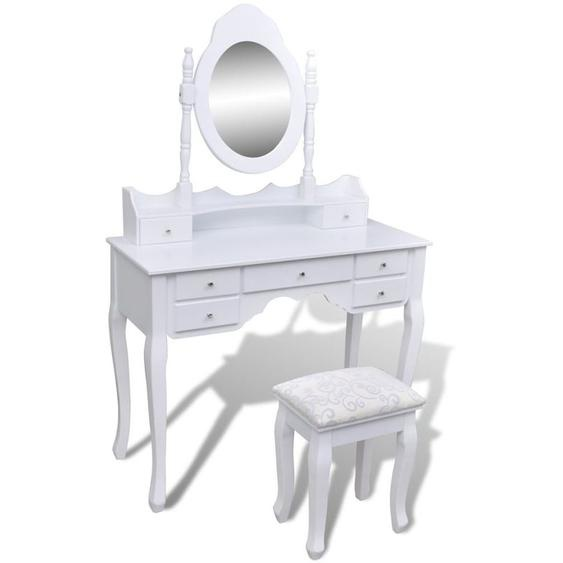 Asupermall - Coiffeuse Avec Miroir Et Tabouret 7 Tiroirs Blanc