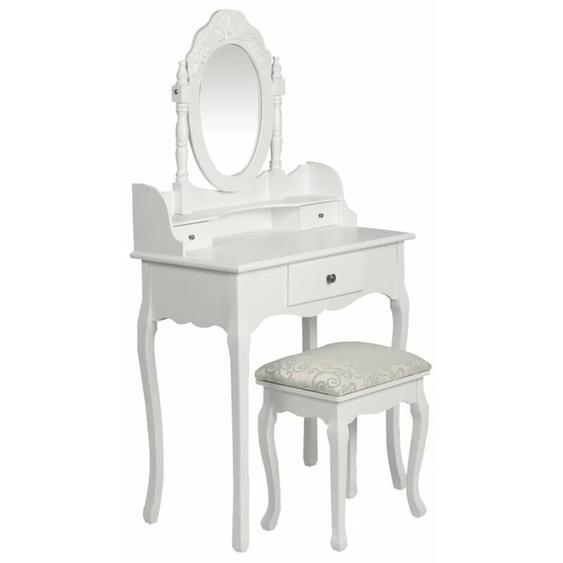 Coiffeuse avec miroir et tabouret Blanc - YOUTHUP