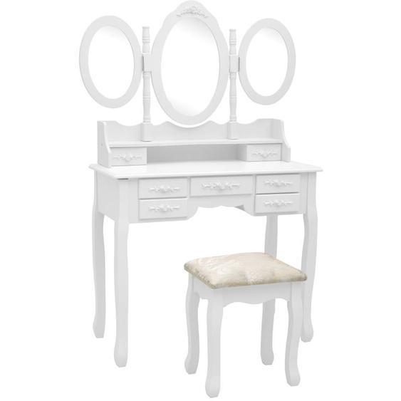 Coiffeuse avec tabouret et miroir pliable en 3 Blanc - YOUTHUP
