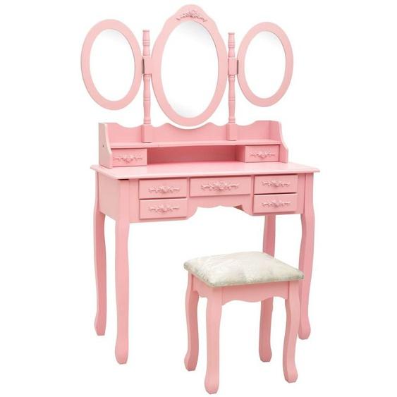 Youthup - Coiffeuse avec tabouret et miroir pliable en 3 Rose