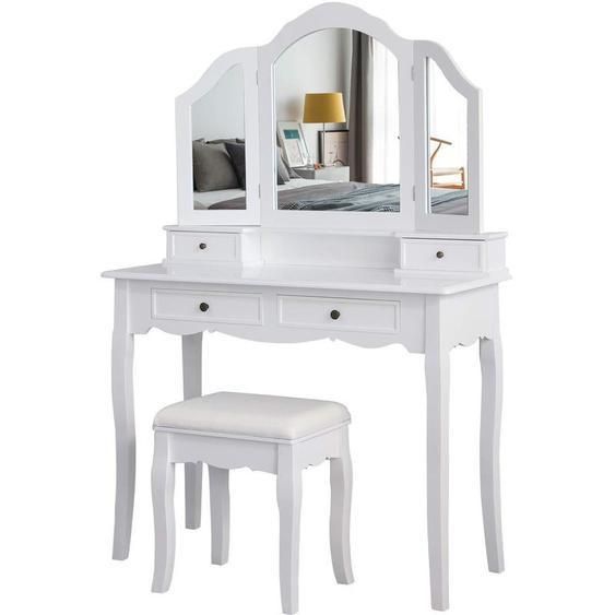 Coiffeuse avec Tabouret, Table de Coiffeuse avec 3 miroirs, 4 tiroirs, Autocollants antidérapants Blanc - MEERVEIL