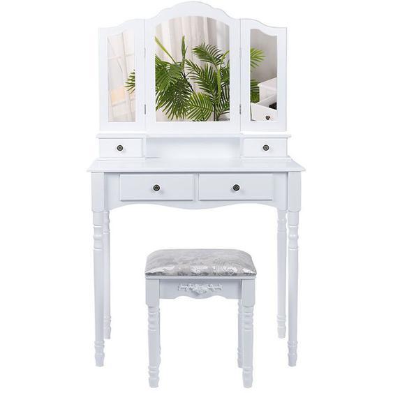Coiffeuse avec Tabouret, Table de Coiffeuse avec 3 Miroirs, 4 Tiroirs, Blanc - OOBEST
