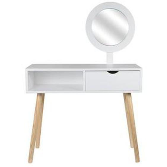 Coiffeuse Blanche Aurore avec miroir et tiroir - THE HOME DECO FACTORY
