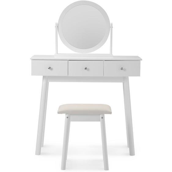 Topdeal B2BFR02575_UK Coiffeuse blanche avec miroir et tabouret Commode de bureau de maquillage pour filles avec chambre à 3 tiroirs