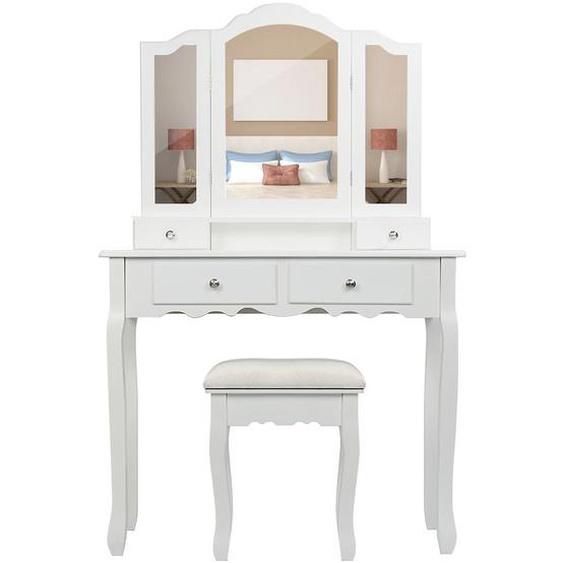 Coiffeuse Blanche, Table de Maquillage avec 4 Tiroirs, 3 Miroir 90*40*142cm - OOBEST