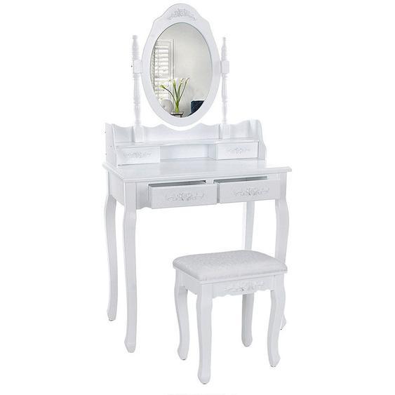 Coiffeuse cosmétique avec miroir et tabouret,4 tiroirs, pour chambre à coucher - JEOBEST