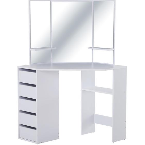 Coiffeuse dangle design contemporain table de maquillage multi-rangements 5 tiroirs 3 étagères 3 miroirs blanc - HOMCOM