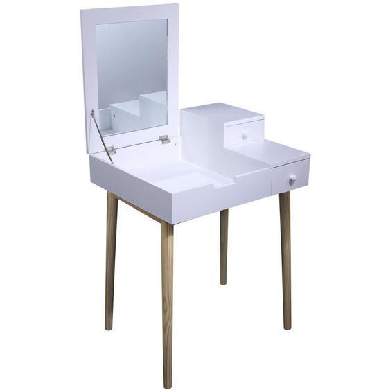 Coiffeuse Elsa avec miroir Blanche Home Deco Factory - THE HOME DECO FACTORY
