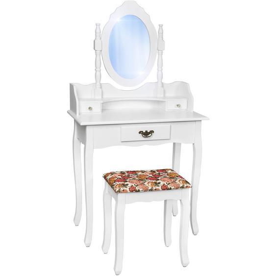 Coiffeuse meuble Table de maquillage Commode avec miroir et 3 Tiroirs + Tabouret Blanc - TECTAKE