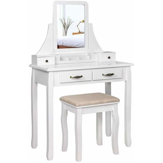 Coiffeuse, Table de Maquillage, 2 Grands tiroirs à coulisses, avec Organisateur de Maquillage Mobile, pour Les pinceaux, Les Vernis à Ongles, avec Miroir et Tabouret, Blanc, RDT012WT - SONGMICS