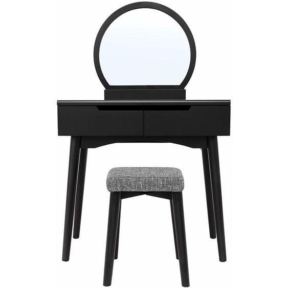 Songmics - Coiffeuse, Table de Maquillage avec Miroir et Tabouret, Table de Maquillage avec 2 spacieux Tiroirs coulissants, Housse de Tabouret détachable et Lavable Noir RDT11BK