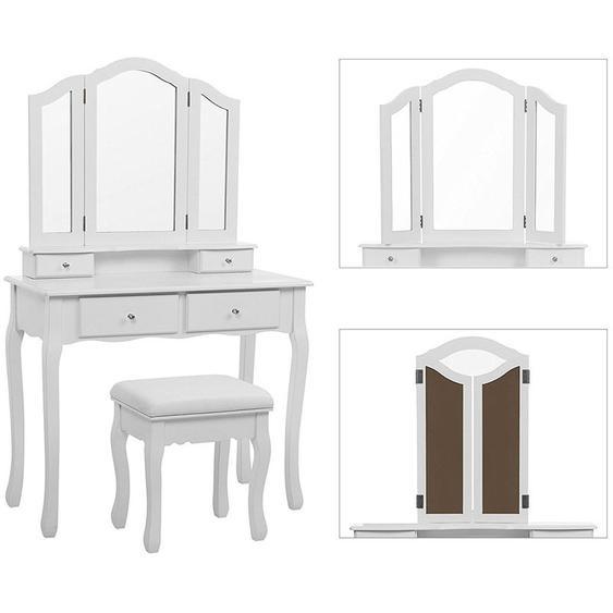 Coiffeuse table de maquillage stockage miroir chambre vanité Blanc maquillage - JEOBEST