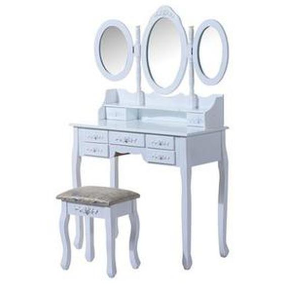 Coiffeuse - Tabouret et miroir - 7 tiroirs et 3 miroirs - 90x40x145cm - HOBAG