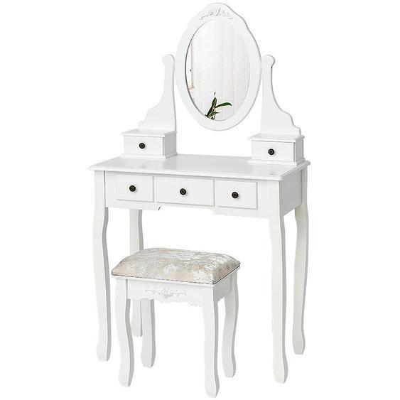 Coiffeuses avec Tabouret, Miroir avec et 5 Tiroirs,pour Chambre ou Dressing - JEOBEST