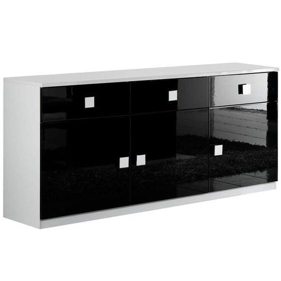 COLUMBUS - Buffet 3 Portes 3 Tiroirs Laqué Brillant Blanc et Noir