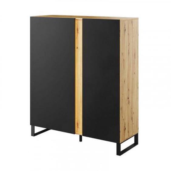 Commode 2 portes noire et chêne MONO avec éclairage - .fr
