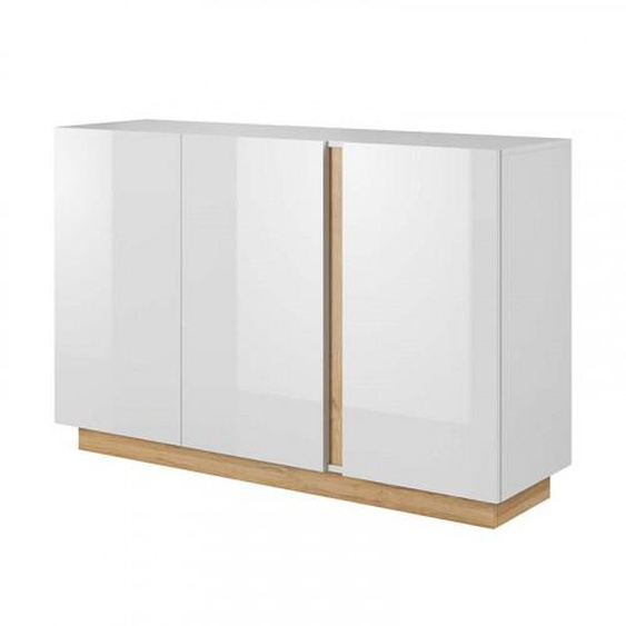 Commode 3 portes ROMEO ET JULIETTE en blanc brillant - .fr