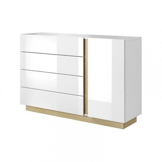 Commode 4 tiroirs ROMEO ET JULIETTE en blanc brillant - .fr