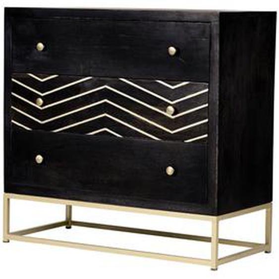 Commode art déco 3 tiroirs PRISMIN - Bois de manguier et métal - Noir et doré