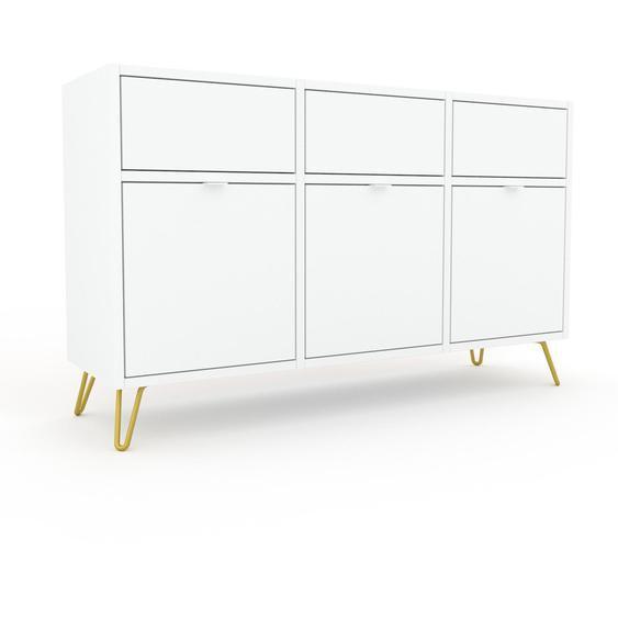Commode - Blanc avec des pieds dorés, pièce de caractère, sophistiquée, avec tiroir Blanc - 118 x 72 x 35 cm, personnalisable