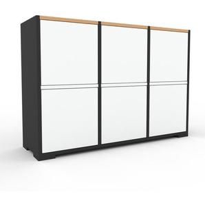 Commode - Anthracite, contemporaine, élégantes, avec porte Blanc - 118 x 81 x 35 cm, personnalisable