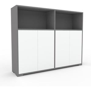 Commode - Gris, contemporaine, élégantes, avec porte Blanc - 152 x 120 x 35 cm, personnalisable
