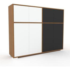 Commode en chêne, bois massif, aspect naturel, pour chambre de qualité - 152 x 120 x 35 cm