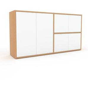 Commode - Hêtre, contemporaine, élégantes, avec porte Blanc - 152 x 80 x 35 cm, personnalisable