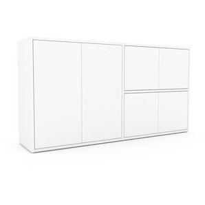 Commode - Blanc, contemporaine, élégantes, avec porte Blanc - 152 x 80 x 35 cm, personnalisable