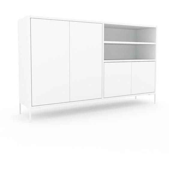 Commode - Blanc, contemporaine, élégantes, avec porte Blanc - 152 x 91 x 35 cm, personnalisable