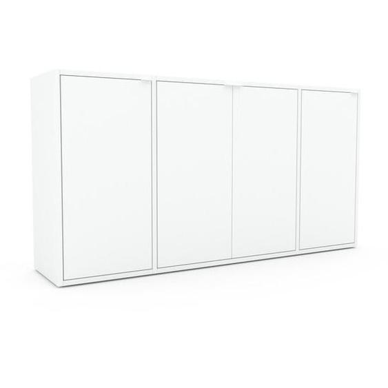 Commode - Blanc, contemporaine, élégantes, avec porte Blanc - 154 x 80 x 35 cm, personnalisable