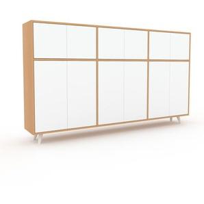 Commode en hêtre, bois massif, aspect naturel, pour chambre de qualité - 226 x 130 x 35 cm