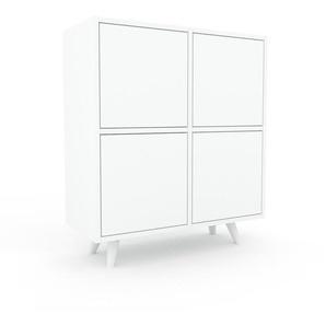Commode - blanc, contemporaine, élégantes, avec porte blanc - 79 x 91 x 35 cm, personnalisable